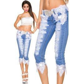Capri-Jeans mit Spitze blau/weiß