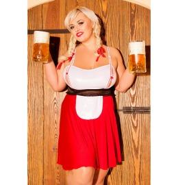Trachten Outfit S/3041 Heidi  rot/weiß