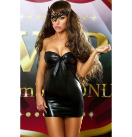 Wetlook Kleid Bows Dress schwarz