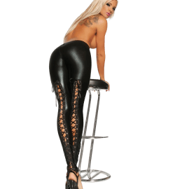 Reizvolle Wetlook-Leggings mit Schnürung in schwarz