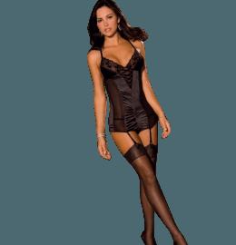 Straps-Negligee aus Spitze & Satin & String in schwarz
