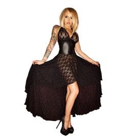 Erotisches Spitzen-Kleid mit Wetlook-Partien in schwarz