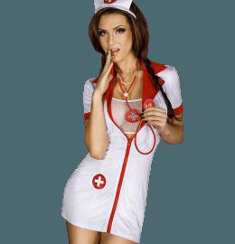 Sexy Krankenschwester Set mit Strümpfen & Netztop in weiß/rot