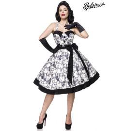 süßes Neckholder Vintage-Kleid schwarz/weiß