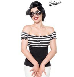 schulterfreies Jersey-Top schwarz/weiß/stripe
