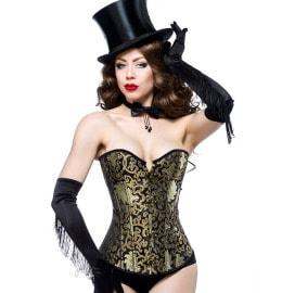 schwarz goldene Burlesque Corsage