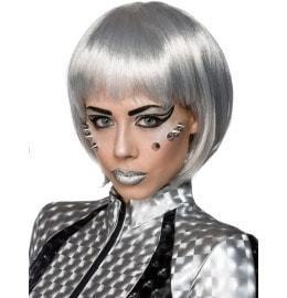 Space-Girl Perücke in Silber