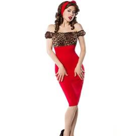 Vintage Kleid in rot mit Leo- Muster